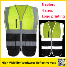 Two tone Reflective safety vest  work unifroms workwear hi vis vest with muilti pockets free shipping sfvest men s fluorescent yellow orange construction hi vis vest safety reflective vest with zipper logo printing free shipping