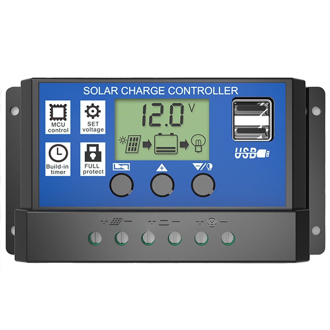 Pwm 10 20 30a Solar Charge Controller 12v 24v Lcd Display
