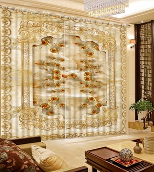 Gold rose Photo Curtains For Window room European Luxurious 3D Curtains For Living room Bedroom Wedding room Sofa Home Decor