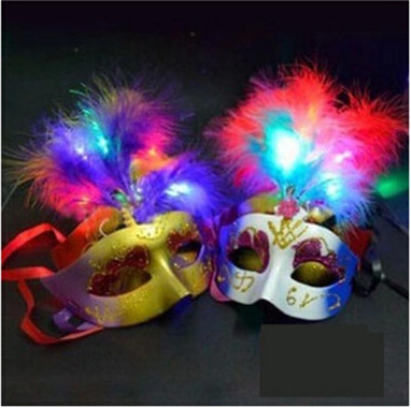 10pcs/lot Multi Color Halloween <font><b>LED</b></font> feather <font><b>Mask</b></font> party flash <font><b>mask</b></font> masquerade <font><b>masks</b></font> decoration supplies glow light feather <font><b>masks</b></font>