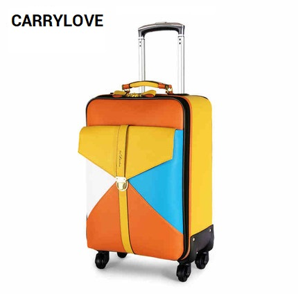 CARRYLOVE fashion luggage series 22/24 inch High quality PU Color stitching Rolling Luggage Spinner brand Travel Suitcase travel tale color stitching 20 22 24 26 28 inches abs high quality rolling luggage spinner brand travel suitcase