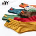 THYY High quality Cotton Women Socks Winter Thermal Warm Ladies Casual Stripe Solid Socks Female 10 Colors Cotton Women's Socks