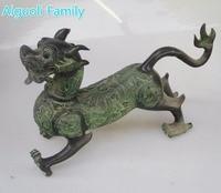 Коллекционная оформлен старая бронза резной китайский древних животных зеленый дракон Скульптура/Большой Дракон Статуя