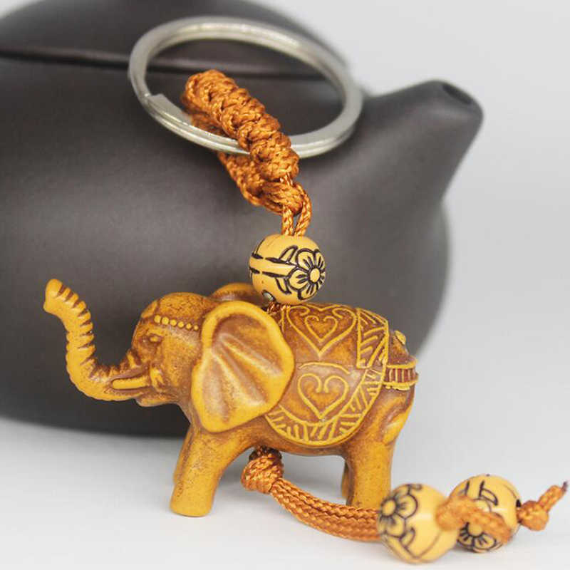 Classic Lucky Men Women's Elephant Carving Pendant Keychain  Cute Plastic Elephant Pendant keychain Women Drop Shipping