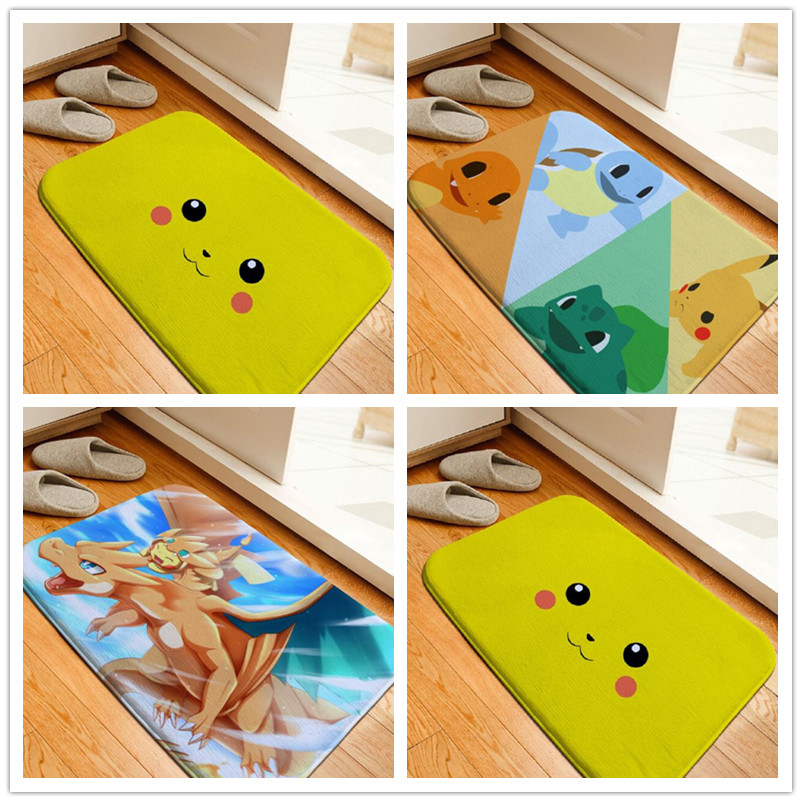 Bath Mat Cartoon Pokemon Pikachu Printing Rug Toilet Carpet Flannel Non Slip Absorbent Shower Bathroom Floor Mat 40x60cm