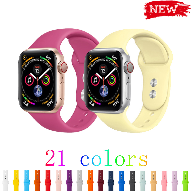 Sport Strap For Apple Watch 5/4/3/2/1 Iwatch Band 44mm 42mm 40mm 38mm Bracelet Silicone Watchband Rubber Belt Accessories