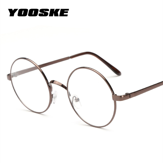 df21070efd8778 YOOSKE Retro Round Glasses Frames Women Men Vintage Transparent Eyeglasses  Unisex Metal Optical Glasses