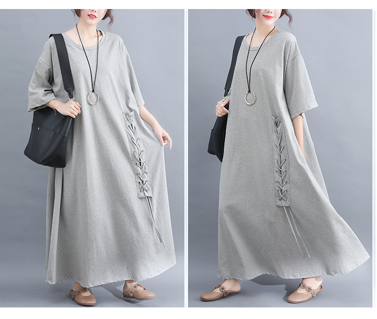 Women's Clothing Audacious P Ammy Spring Plus Size Lace Up Cotton Maxi Long Dress 2019 Summer Lagenlook 1/2 Sleeve Tunic Kaftan Baggy Voguees Trend