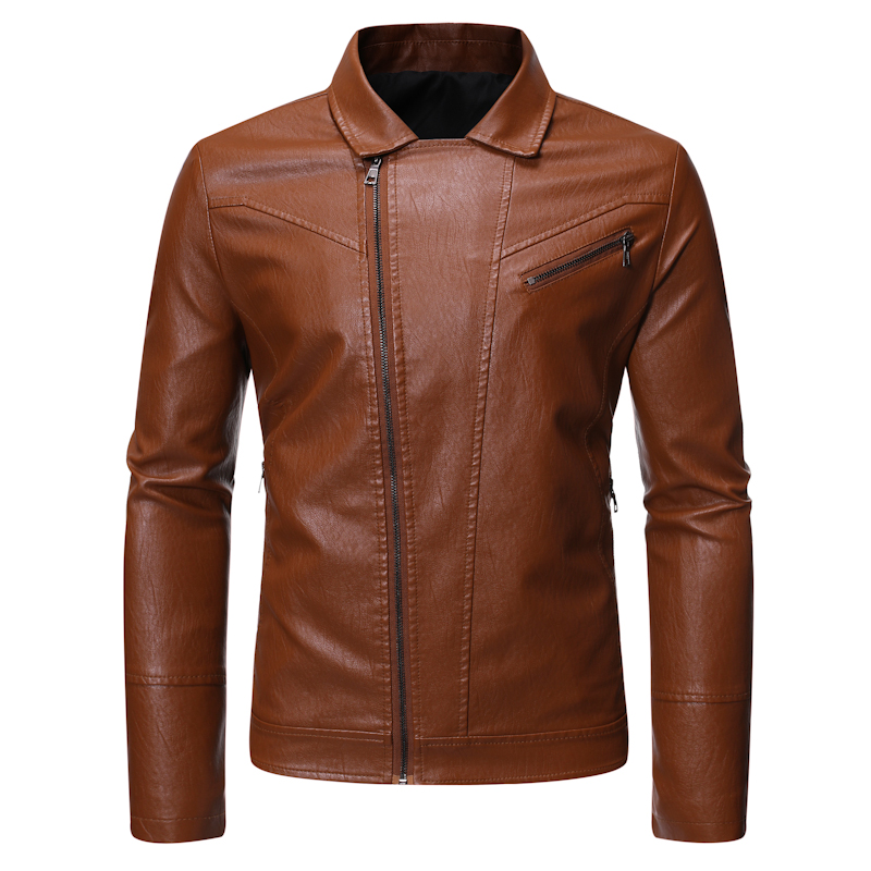 Slim Fit PU Leather Jackets and Coats Men Leather Jackets New Men Autumn Diagonal zipper Jackets Solid Faux Leather Coats 5XL