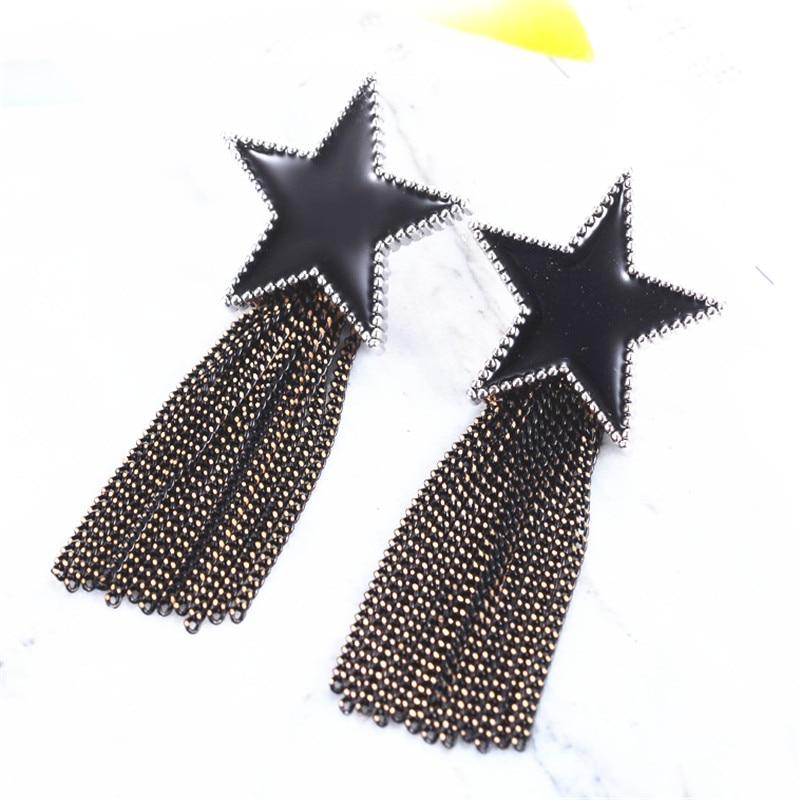 Stars Black Enamel Earrings Fashion Jewelry 9 Style Geometric Tassel Earring For Women Bijoux(China)