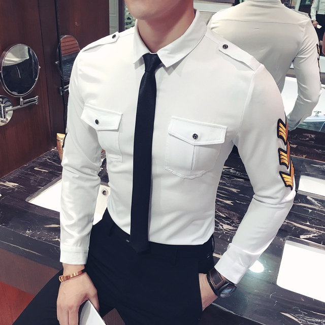 dd0e5c678b9 S~5XL! New 2019 Men s Clothing Plus size Autumn and winter night work  uniforms badges self-cultivation shirt clothes