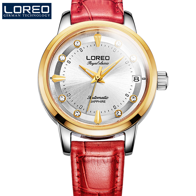 LOREO Sapphire Automatic Mechanical Watch Men silver Stainless steel waterproof leather Watch relogio feminine