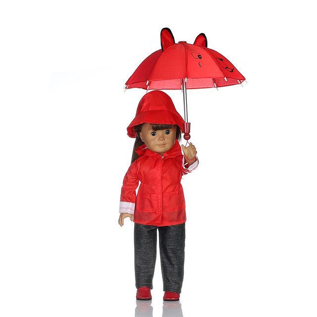 017a6e29aa2b6 Doll Clothes for American Dolls  3 Piece Rain Outfit - Includes Rain Jacket