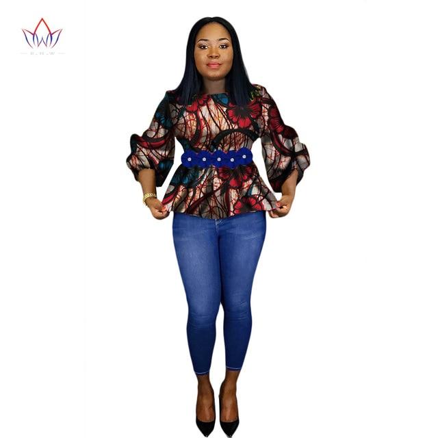 8e2e314d6a85 € 37.22 6% de réduction BRW 2018 Africain Imprimer Cire Chemise pour Femmes  Dashiki Fleur Afrique Vêtements Bazin Plus Taille Vêtements ...