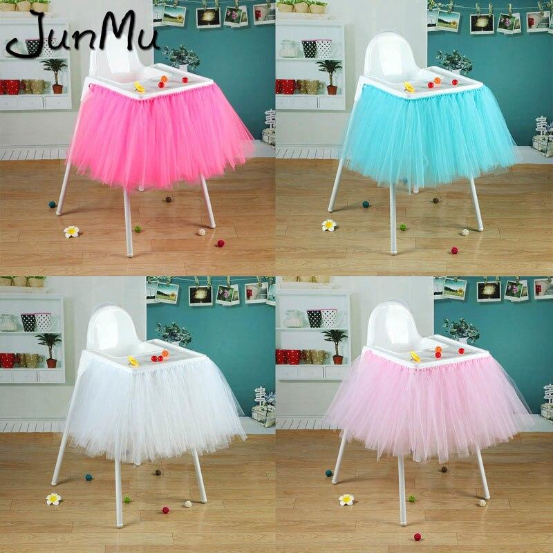 6eac225d7 100 cm x 35 cm tutú tul faldas de mesa Baby Shower decoración de cumpleaños  para silla alta ...
