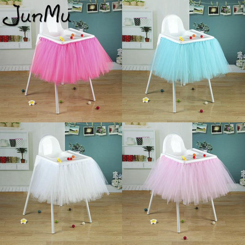 vLoveLife 40 x 14 Baby Blue Tulle Tutu Skirt With Glitter Silver Tulle For Baby High Chair Decor Birthday Party Baby Shower Decorations Favors