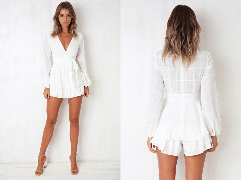 Rompers Womens Jumpsuit V Neck Long Sleeve Casual Romper Women Elegant Jumpsuit Short Playsuit Combinaison Femme Overalls Shorts 28