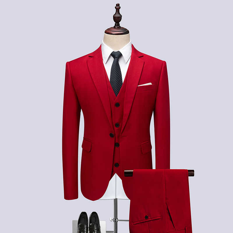 Plyesxale青赤グレー紫白結婚式のスーツ男性スリムフィット3ピースビジネスフォーマルスーツ5xl 6xlブランド服q496