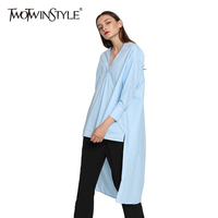 TWOTWINSTYLE Women Oversized Blouse V Neck Long Sleeves Long Back Short Front Side Slit Loose
