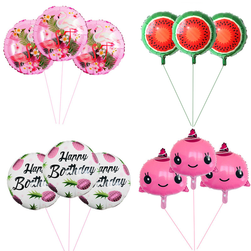 3pcs 18Inch Flamingo Fruits Boys or Girls 1st Happy Birthday Balloons Party Wedding Decoration Baby Shower Supplies