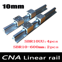 2pcs SBR10 L 600mm linear rail support with 4pcs SBR10UU linear guide auminum bearing sliding block cnc parts