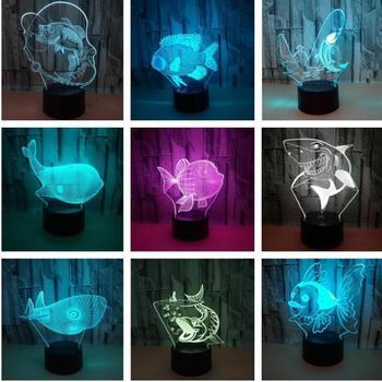 Новая Акула 3d ночные светильники Красочные сенсорные светодиодные визуальные настольные лампы подарок домашняя атмосфера Акриловые 3d нас...