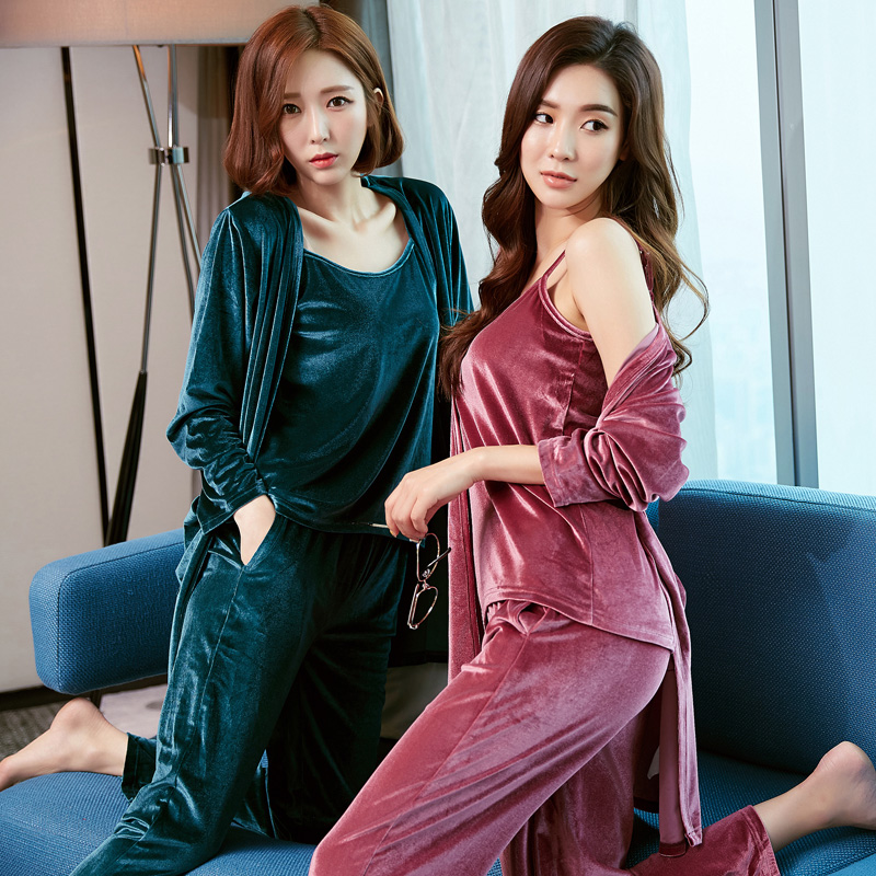 3 Piees Set Winter And Autumn Winter Girl Long Sleeve Pajamas For Women Lovely Velvet Women Clothing Sleepwear