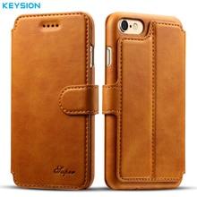 Keysion бизнес-кейс для iPhone 6 6 S плюс кошелек отделения для карточек искусственная кожа флип чехол Kickstand задняя крышка для iPhone6 6 plus