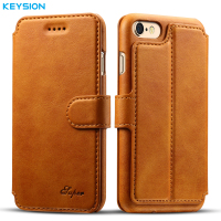 KEYSION Business Case For IPhone 6 6S Plus Wallet Card Slots PU Leather Flip Case Kickstand