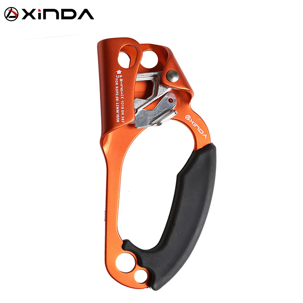 XINDA Professional Outdoor Sports Rock Climbing Right Hand Grasp 8mm-12mm Rope Ascender Device Mountaineer Riser Tool Kits e0037 right hand ascender professional aerospace aluminum ascenders for outdoor mountaineering rock climbing