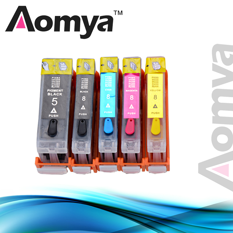Aomya Full Refillable ink Cartridge PGI5 PGI-5 CLI-8 for Canon Pixma iP4200 iP4300 iP4500 iP5200 MP500 MP530 MP600 MP610 MP800