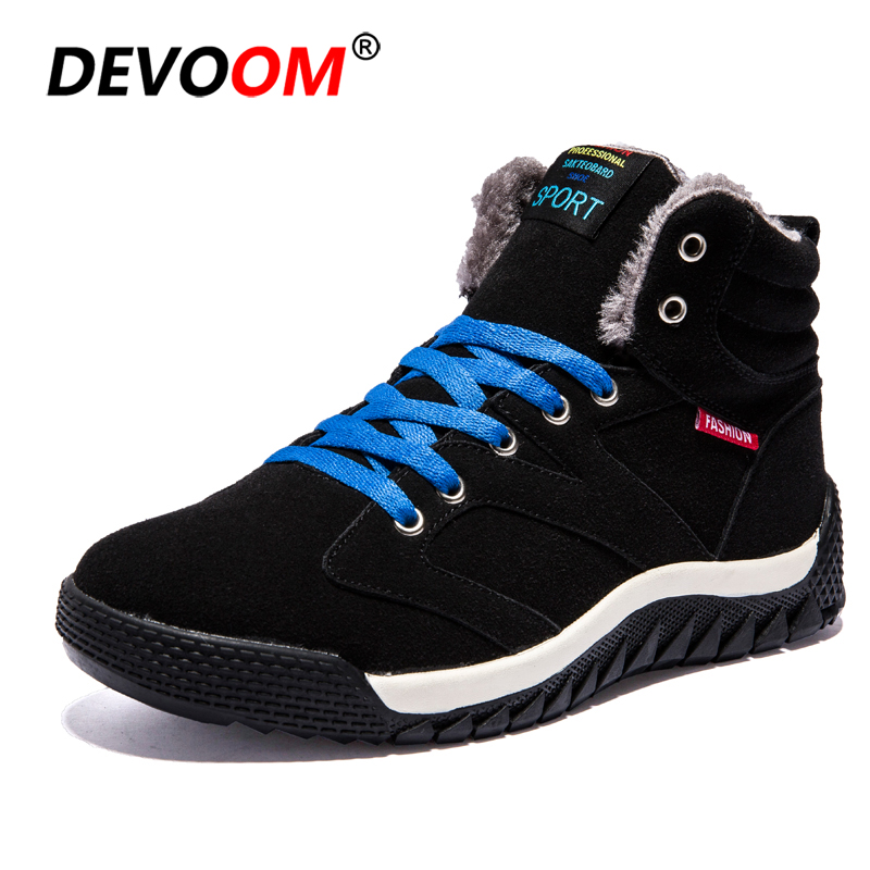 2018 chaussures d'hiver homme extérieur coton chaussures bottes de neige hommes baskets de montagne fourrure randonnée chaussures hommes chasse bottes grande taille 39-46