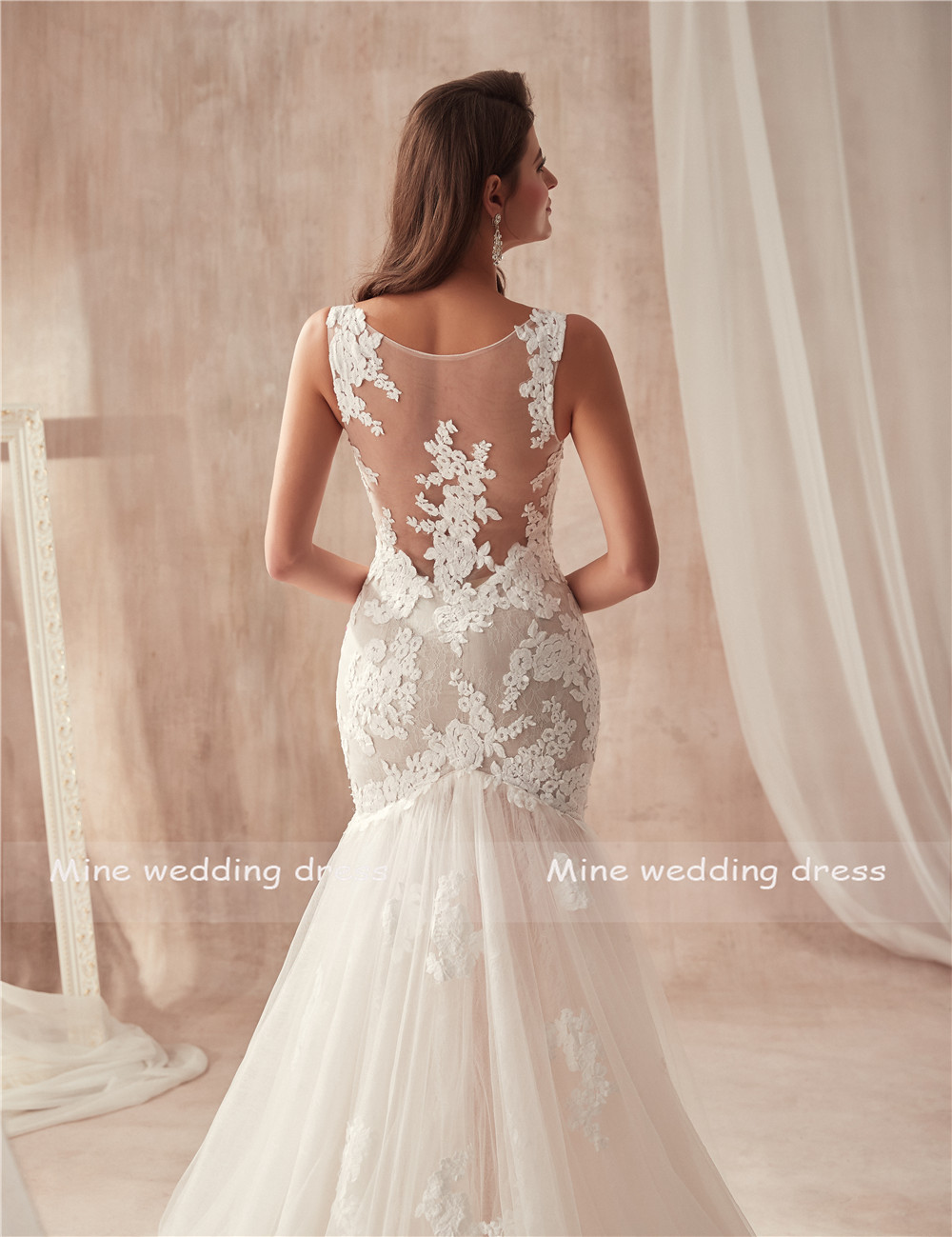 Image 5 - V neck Nude Mermaid Wedding Dress Open Back with Lace See Through Sexy Bridal Gowns vestidos de noiva-in Wedding Dresses from Weddings & Events