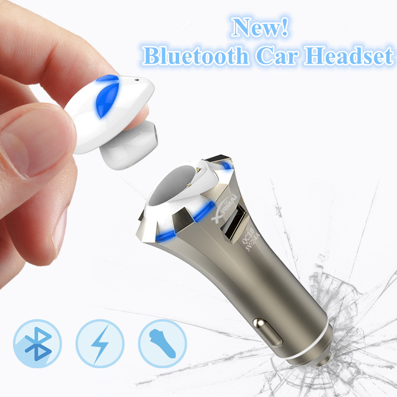 Latest 3 in Profession Car Bluetooth Headset A8 Alien BT4.0 LED Stereo Bluetooth Earphone Smart Car Charger Wireless Headphones bq 638 car charger bluetooth v4 1 wireless headphones earphone headset for car color black white