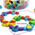 Бесплатная доставка 90 ШТ. животных строительные блоки деревянные игрушки, обучение и образование детские игрушки море шариков, строки из бисера серии