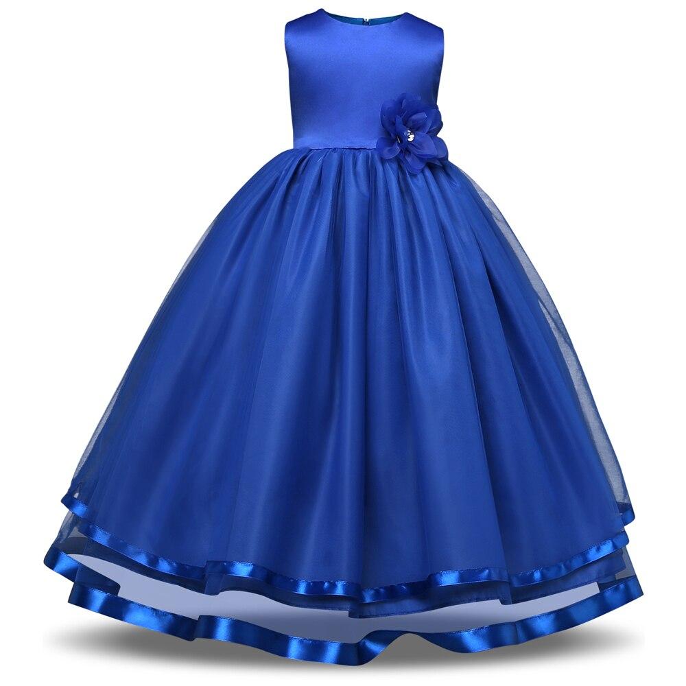 2017 Summer New Girls Dress White Girls Long Dresses Blue Kids Prom Wedding Dress Bow Children Party Dress Flowers Costume