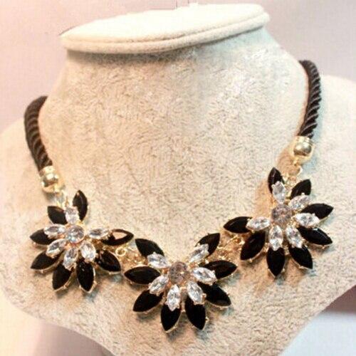 MINHIN מבריק Weave פרח קישוט קולר שרשרת לנשים מכירה לוהטת ריינסטון חתונה תכשיטי חבל שרשרת Collares