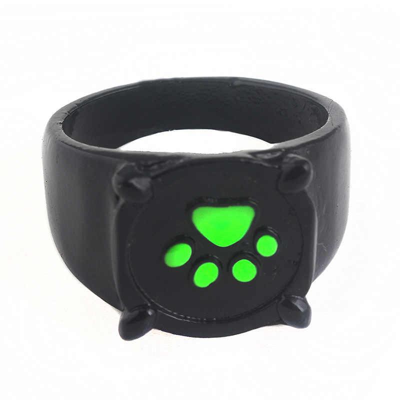 อะนิเมะเลดี้ bug แหวนเครื่องประดับสตรี Chat Noir สีดำแมว Noel แหวนสีเขียว Pawprint ผู้ชายของขวัญเครื่องประดับเด็ก