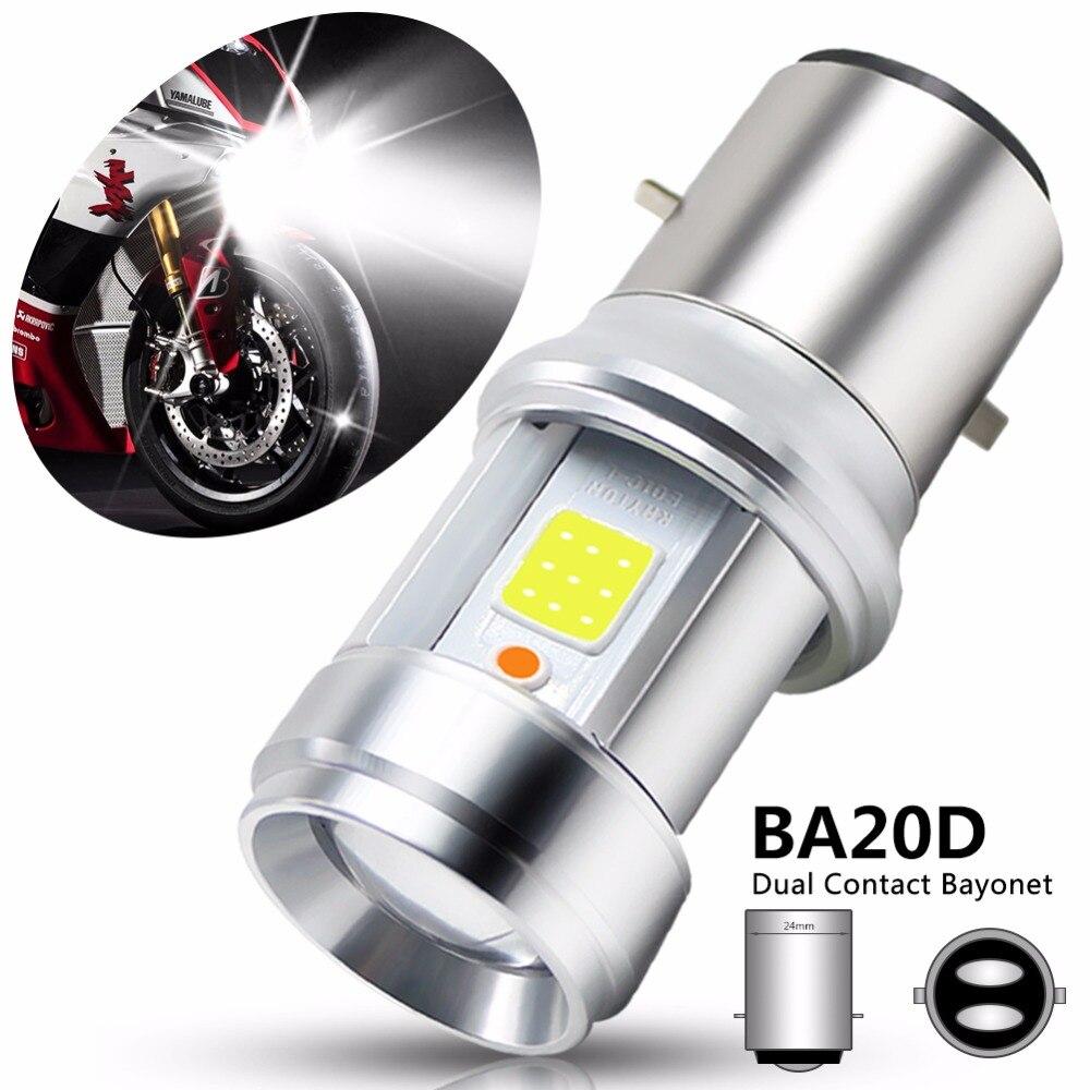BA20D LED Motorcycle Headlight Bulb COB Chip LED Glass Lens White+Blue Light Lamp Hi-Lo Beam Motorcycle Light Fog Lamp DC 9-18V