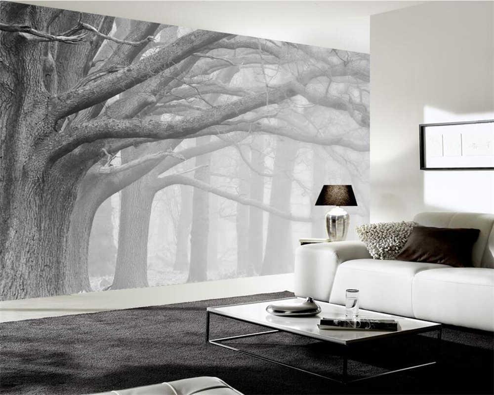 Papier Peint Chambre Moderne beibehang papier peint moderne minimaliste gris brouillard arbre tv fond  mur 3d salon chambre murale décoration de la maison 3d papier peint