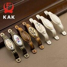 KAK антикварные винтажные ручки дверные для шкафа из цинкового сплава керамические ручки для шкафов ручки для ящиков Европейский стиль оборудование для обработки мебели