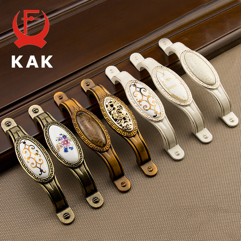 KAK Antique Vintage Wardrobe Door Knobs Zinc Alloy Ceramic Cabinet Handles Drawer Knobs European Style Furniture Handle Hardware