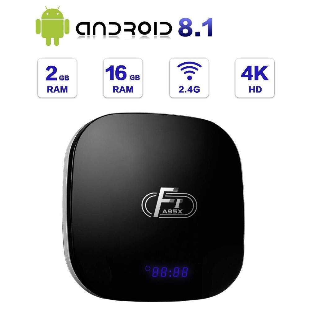 Android TV box A95 XF1 Android 8.1 tv box 2GB 16GB smart TV Box 4K 2.4G WiFi Media Player Mali-450 GPU Ethernet HDMI avec USB