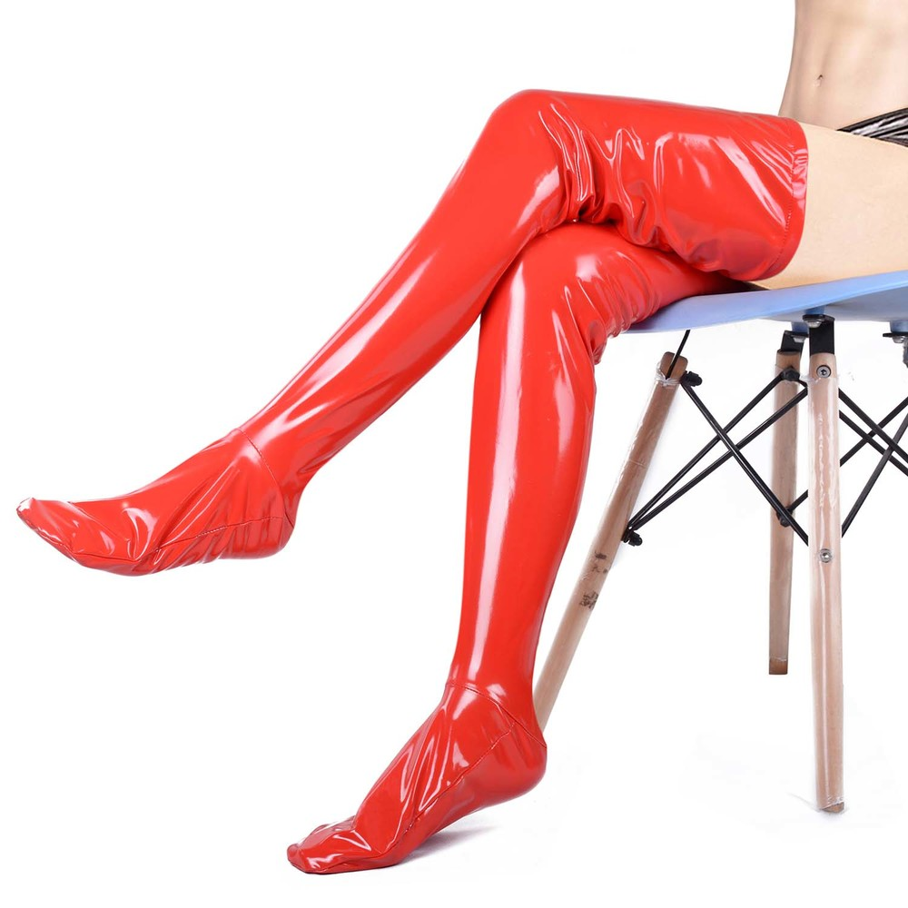 Unicolor Shiny PVC Zentai Stockings Halloween Party Composite Coatings Faux Leather Thigh High Skintight Adult Catsuit Stocking