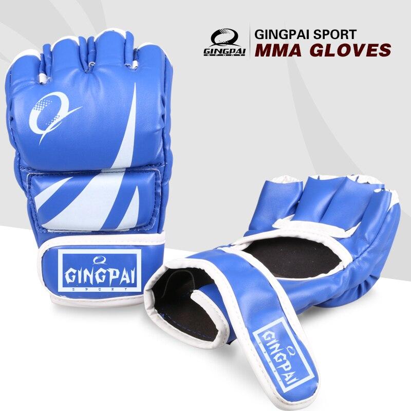 Кожаные перчатки для смешанных единоборств, половинчатая клетка для захвата пальцев, боевые перчатки для спарринга, тренировочные перчатк...
