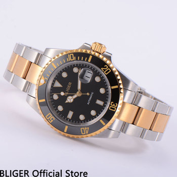 Classic BLIGER 40MM Black Dial Ceramic Bezel Luminous Marks Gold Plated Two-Tones Miyota Automatic Movement Men's Watch цена 2017