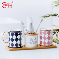 Europe Luxury Bathroom Set Ceramic For Couple Toilet Accessories Decoration Toothbrush Holder Bamboo Tray Unique Gifts For Lover