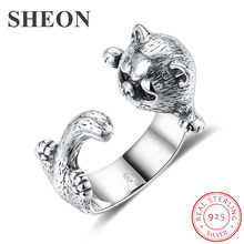 SHEON 925 Sterling Silver Persian Cat Animal Female Vintage Finger Rings for Women Adjustable Size Jewelry Anel