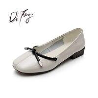 DRFARGO Genuine Leather Square Toe Bowtie Front Ballet Style Block Low Heel Soft Sole Shallow Vamp Black Blue size 34 43 1905
