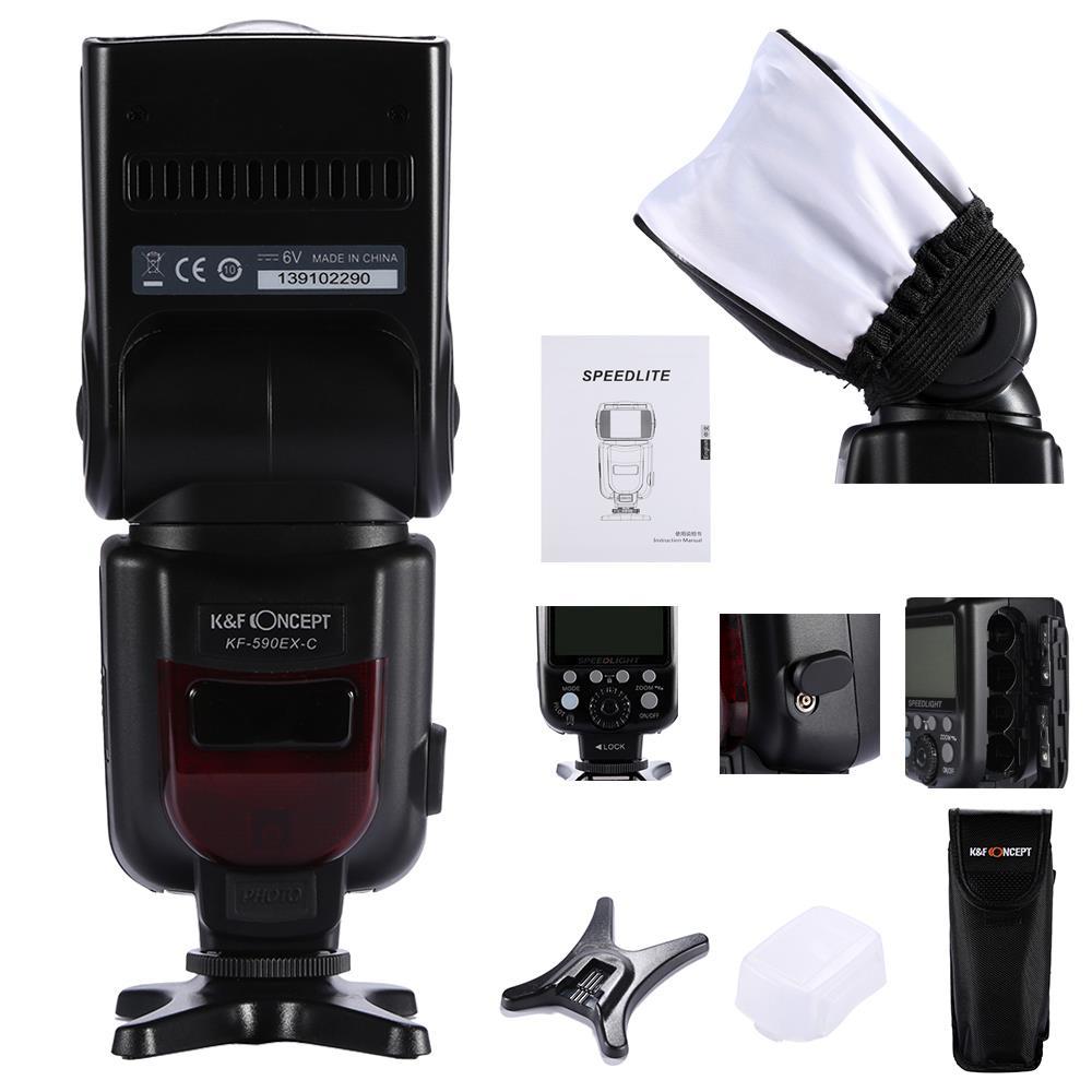 ФОТО K&F Concept KF-590EX E-TTL Flash Speedlite For Canon Camera 7D 5D 60D 600D 400D 5D 5D2 5D3 6D 7D 1100D 60D 550D 450D 20D 30D 40D